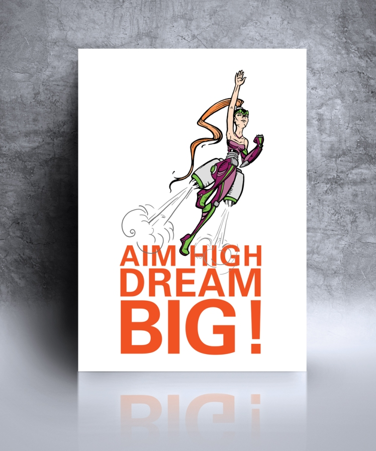 Aim High Dream Big Illustration